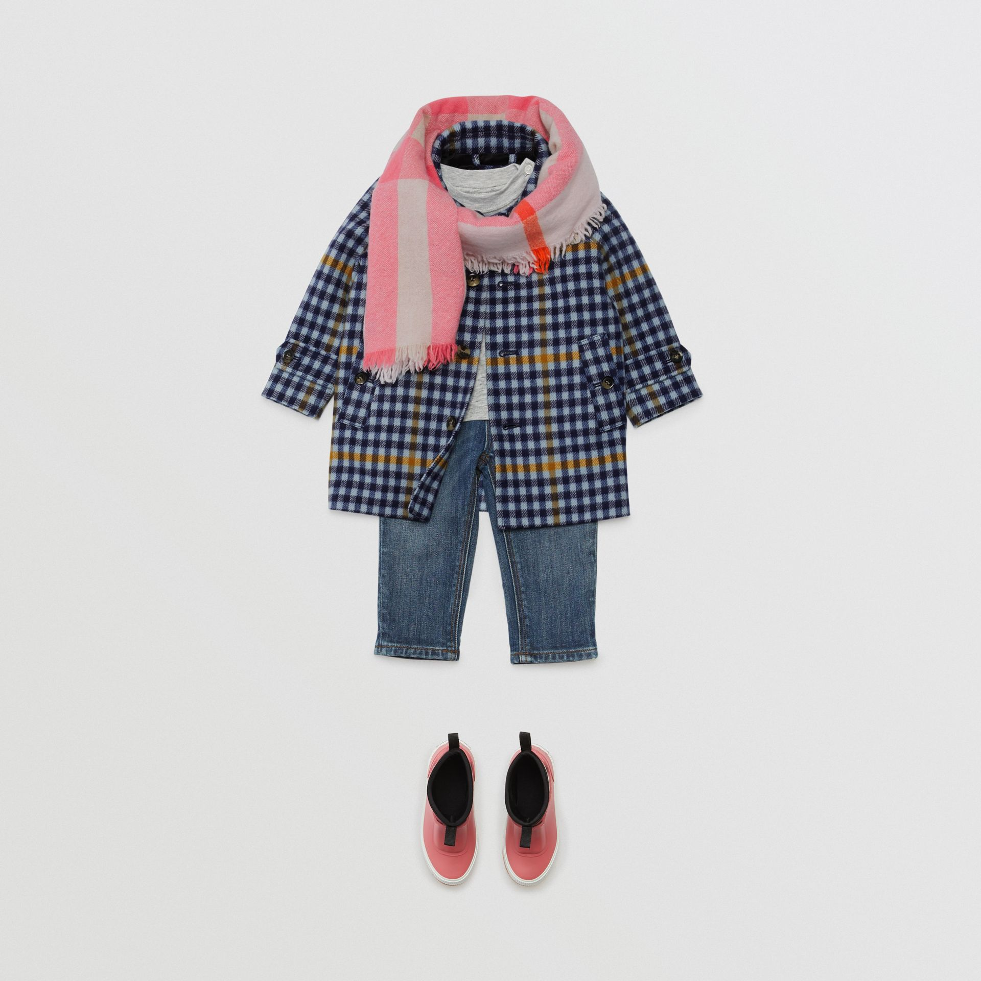 Check Wool Car Coat in Canvas Blue - Children | Burberry - gallery image 2