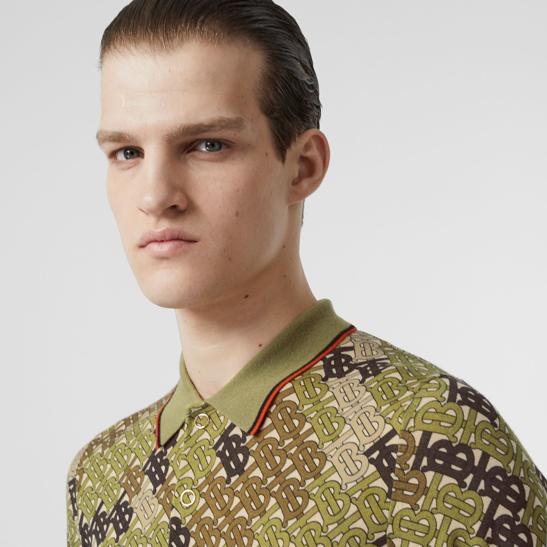 Monogram Print Tipped Merino Wool Polo Shirt in Khaki - Men | Burberry - gallery image 1