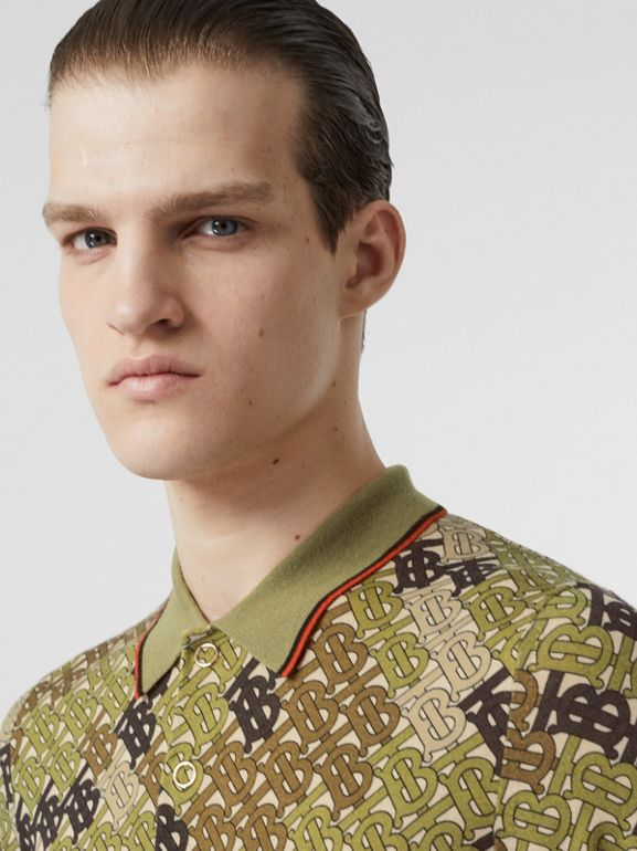 Monogram Print Tipped Merino Wool Polo Shirt in Khaki - Men | Burberry - cell image 1