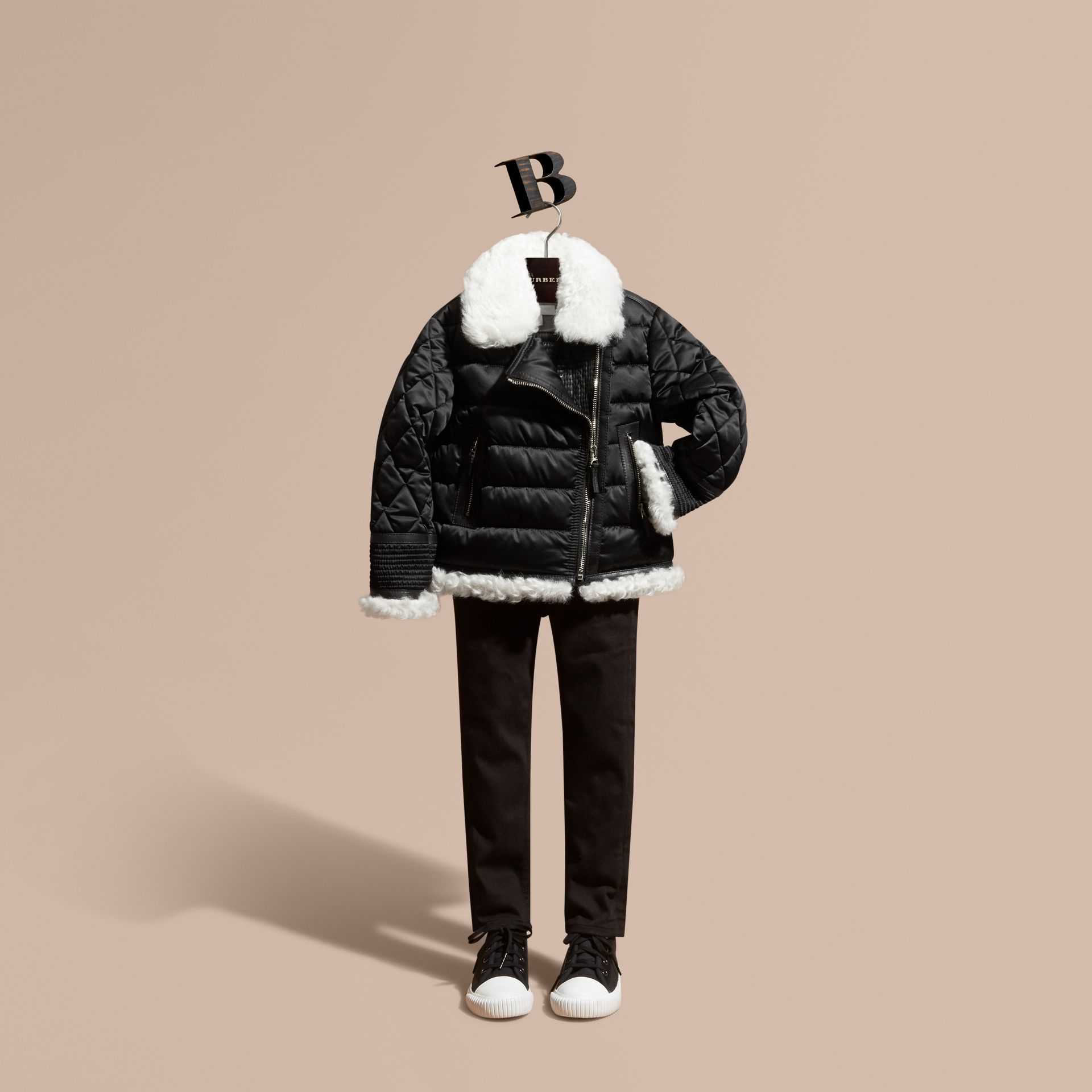Black Shearling Trim Quilted Aviator Jacket - gallery image 1