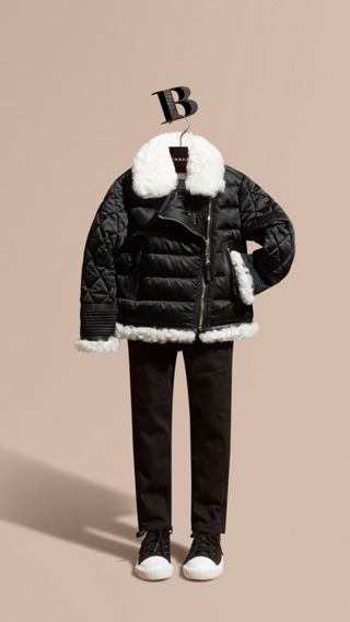 Shearling Trim Quilted Aviator Jacket