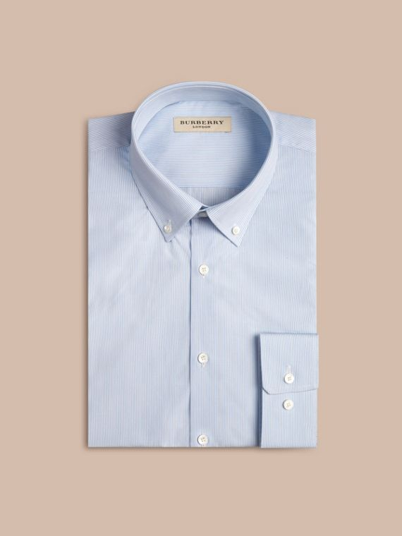 City blue Modern Fit Button-down Collar Striped Cotton Poplin Shirt - cell image 3