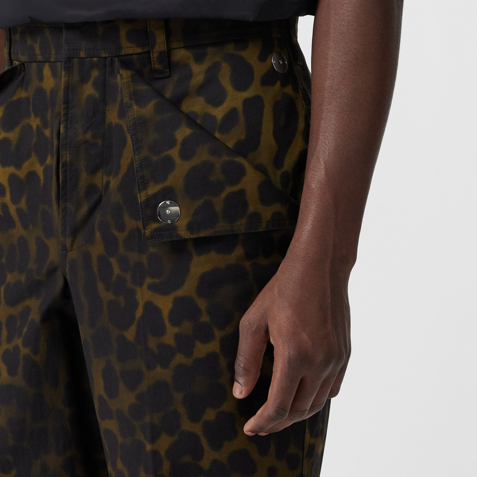 Relaxed Fit Leopard Print Cotton Trousers in Khaki Green | Burberry - gallery image 1