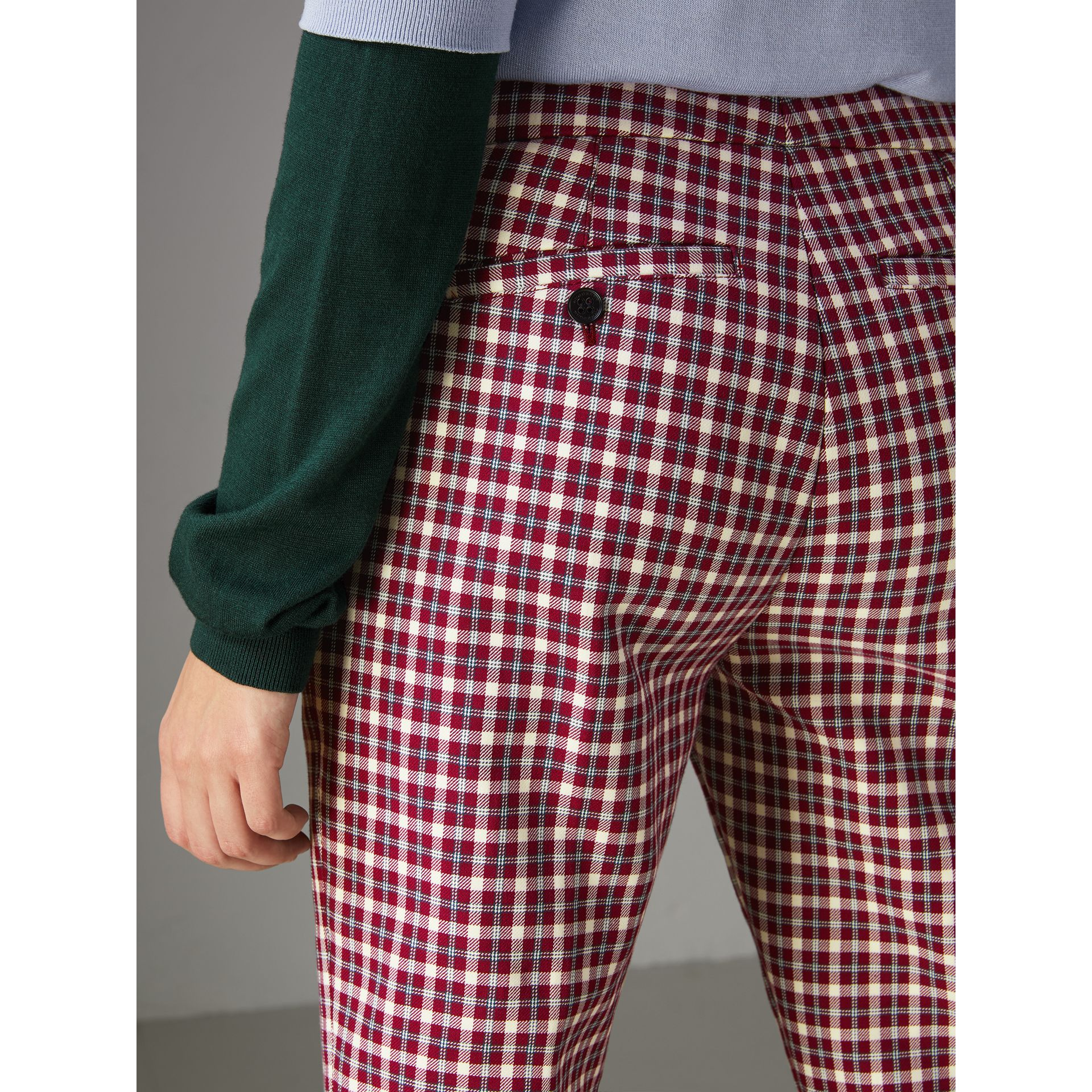 Straight-fit Check Cotton Tailored Trousers in Burgundy - Women | Burberry United Kingdom - gallery image 1