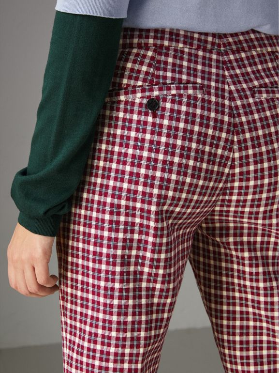 Straight-fit Check Cotton Tailored Trousers in Burgundy - Women | Burberry United Kingdom - cell image 1