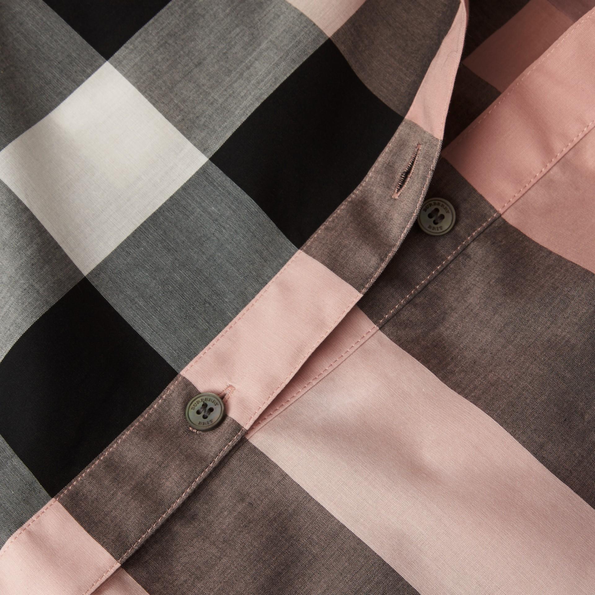 Rosa antico Camicia a maniche corte in cotone con motivo check Rosa Antico - immagine della galleria 2