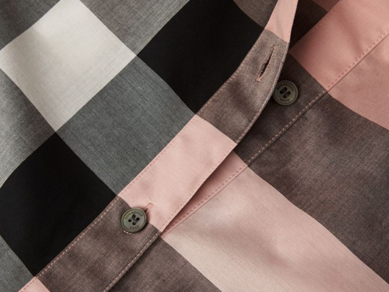 Antique pink Short-sleeved Check Cotton Shirt Antique Pink - cell image 1