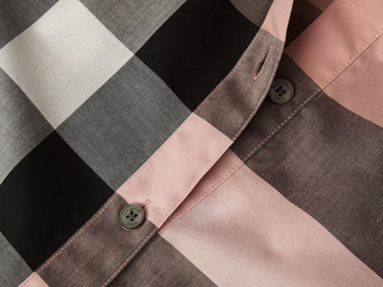 Rosa antico Camicia a maniche corte in cotone con motivo check Rosa Antico - cell image 1