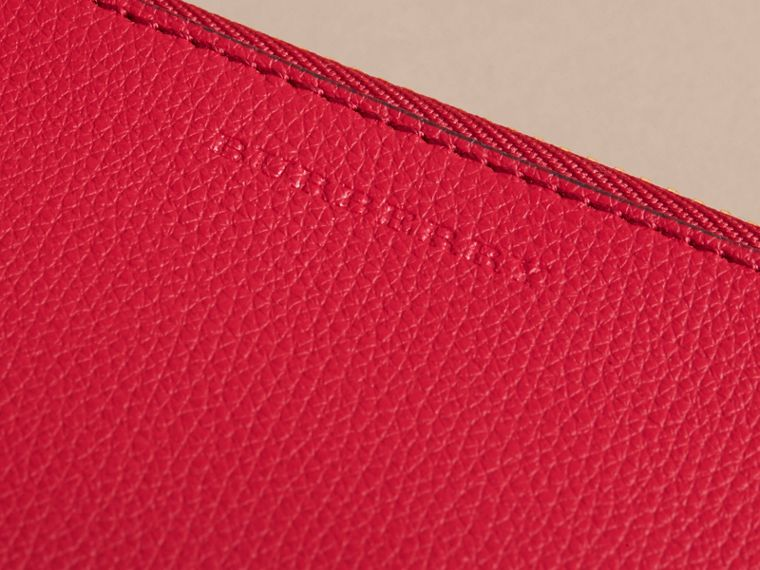 Haymarket Check and Leather Pouch in Poppy Red - Women | Burberry Canada - cell image 1
