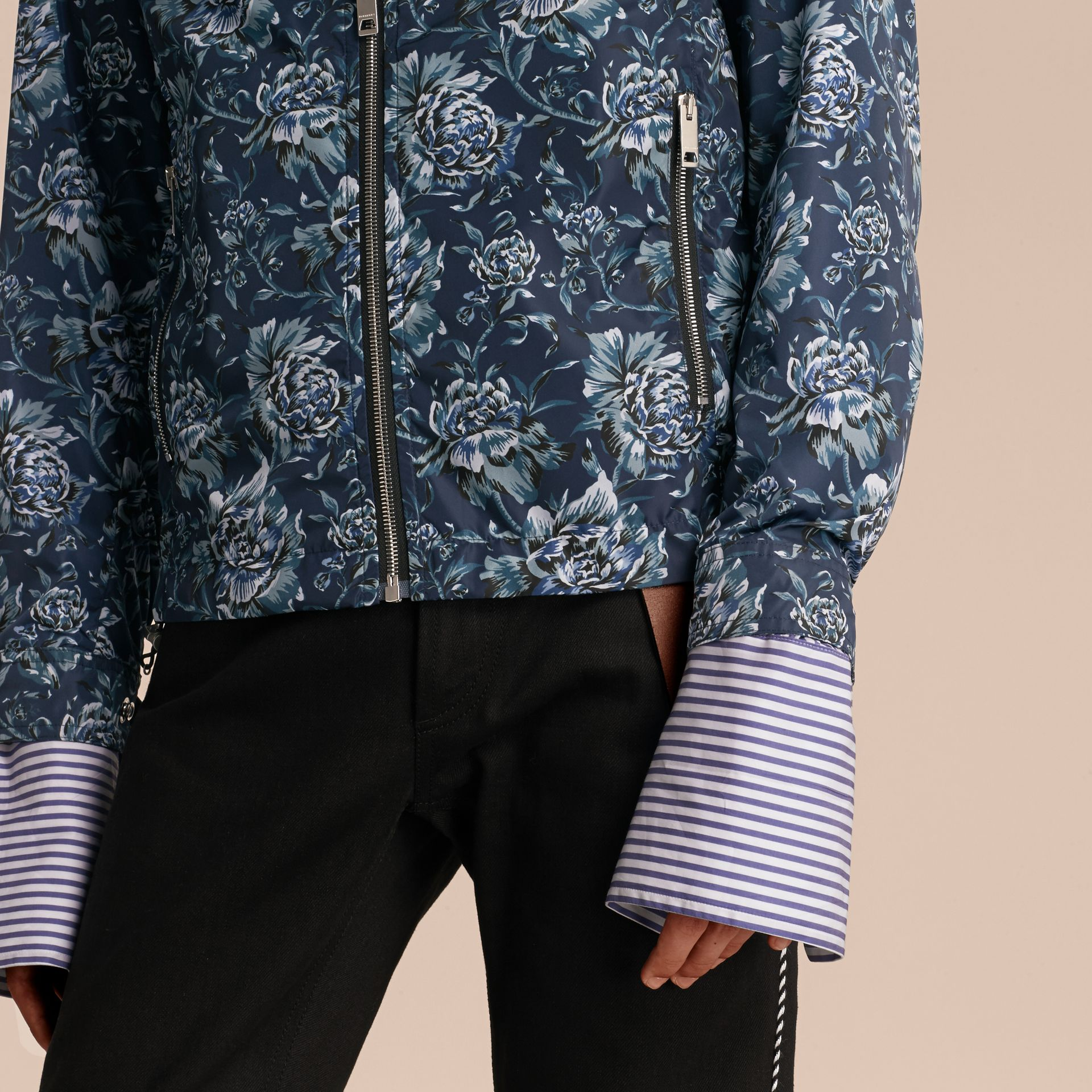 Ink blue Peony Rose Print Lightweight Jacket - gallery image 6