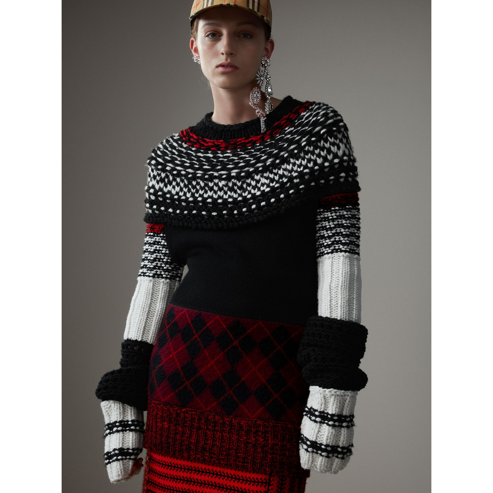 Hand-knitted Yoke Cashmere Wool Sweater in Black - Women | Burberry Hong Kong - gallery image 5