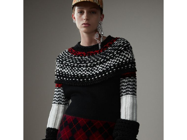 Hand-knitted Yoke Cashmere Wool Sweater in Black - Women | Burberry Hong Kong - cell image 4