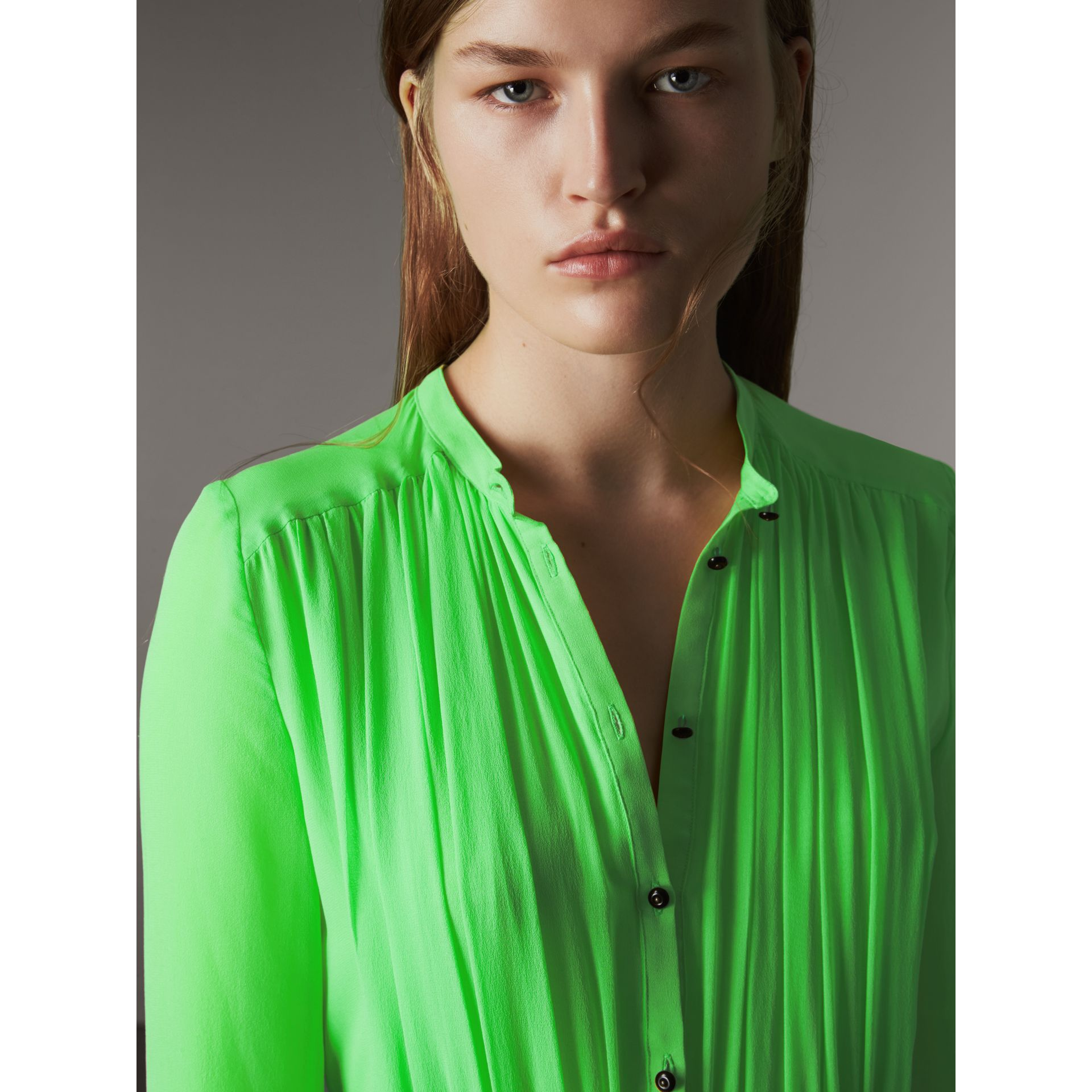 Gathered Silk Georgette Dress in Neon Green - Women | Burberry - gallery image 4