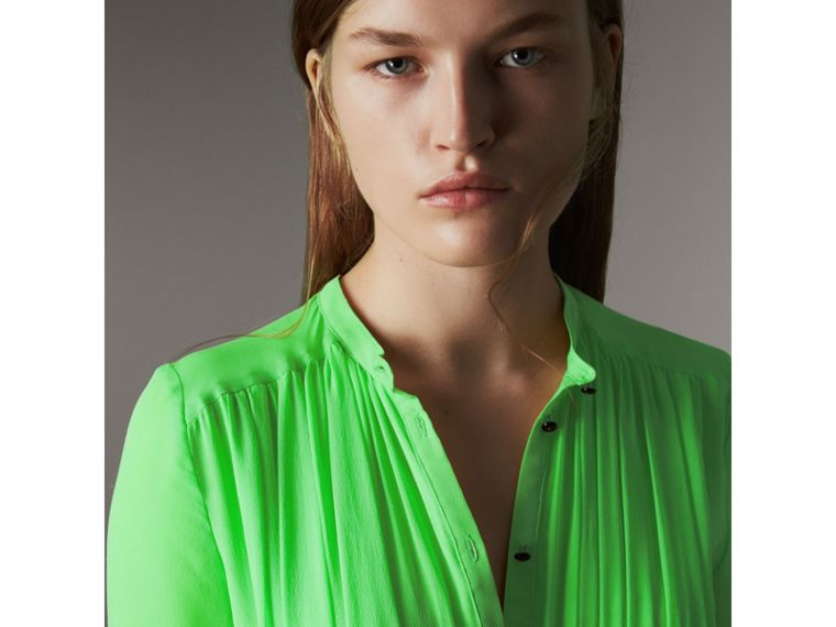 Gathered Silk Georgette Dress in Neon Green - Women | Burberry - cell image 4