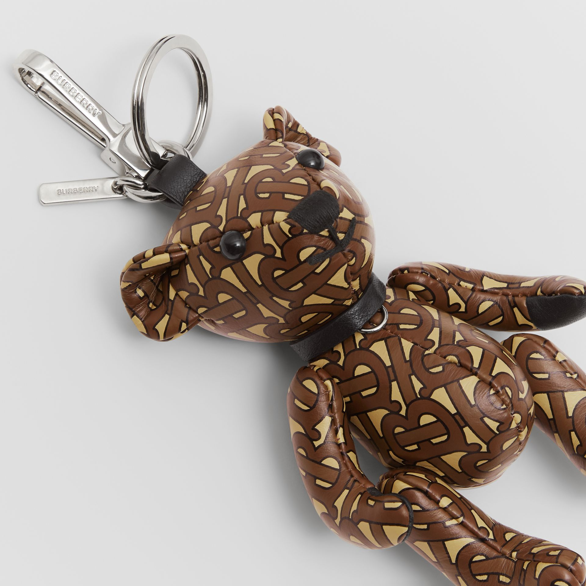Thomas Bear Charm in Monogram Print Leather in Bridle Brown | Burberry - gallery image 1