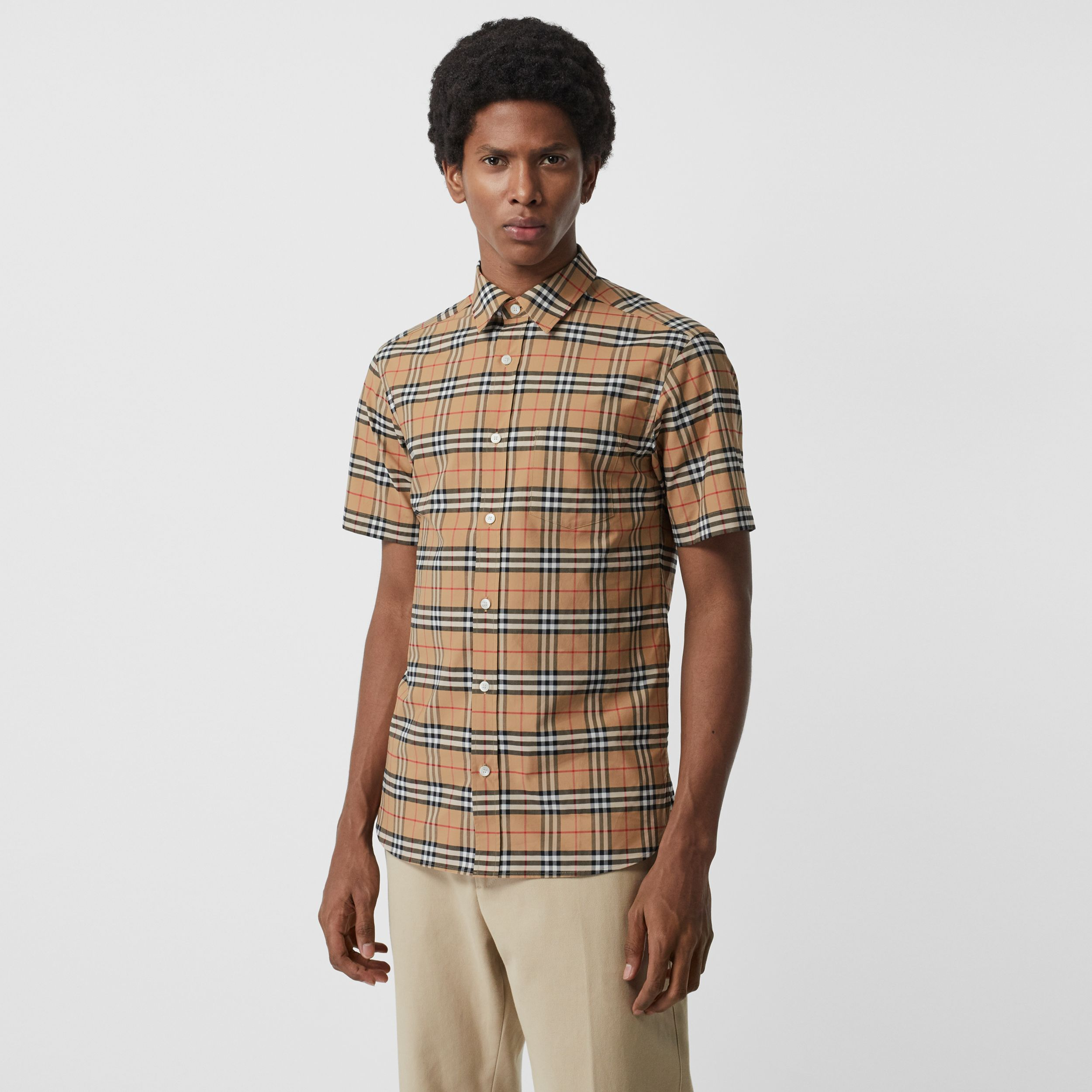 Short-sleeve Check Stretch Cotton Shirt in Camel - Men | Burberry Australia - 1