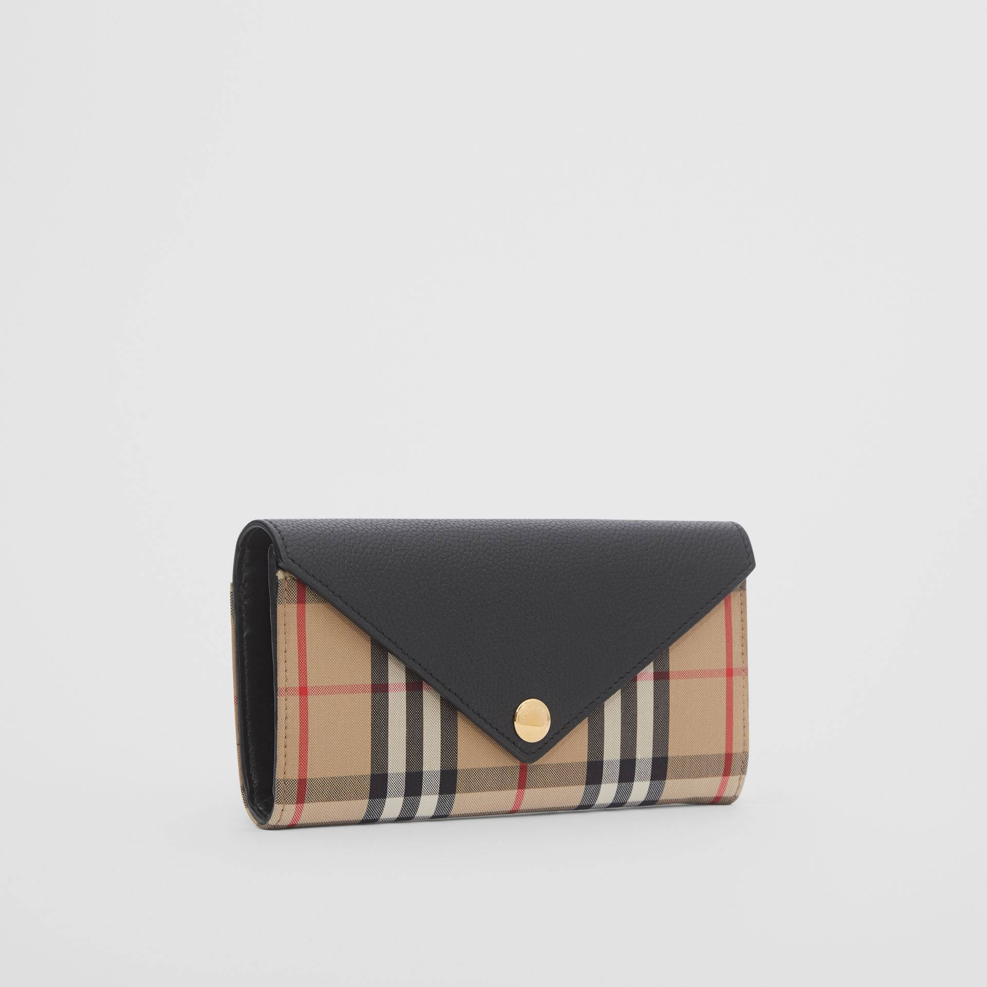 Vintage Check and Leather Continental Wallet in Black - Women | Burberry - gallery image 3