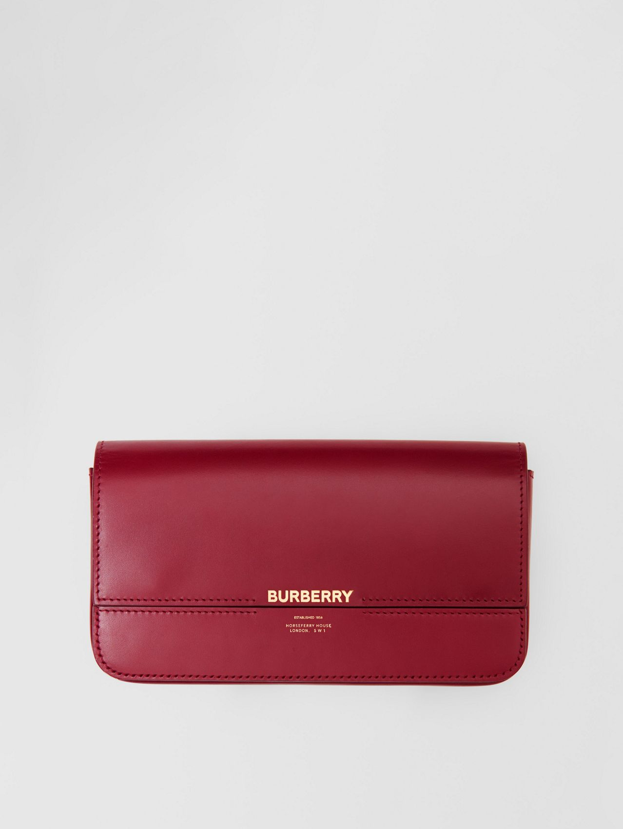 Leather Wallet with Detachable Chain Strap in Dark Crimson
