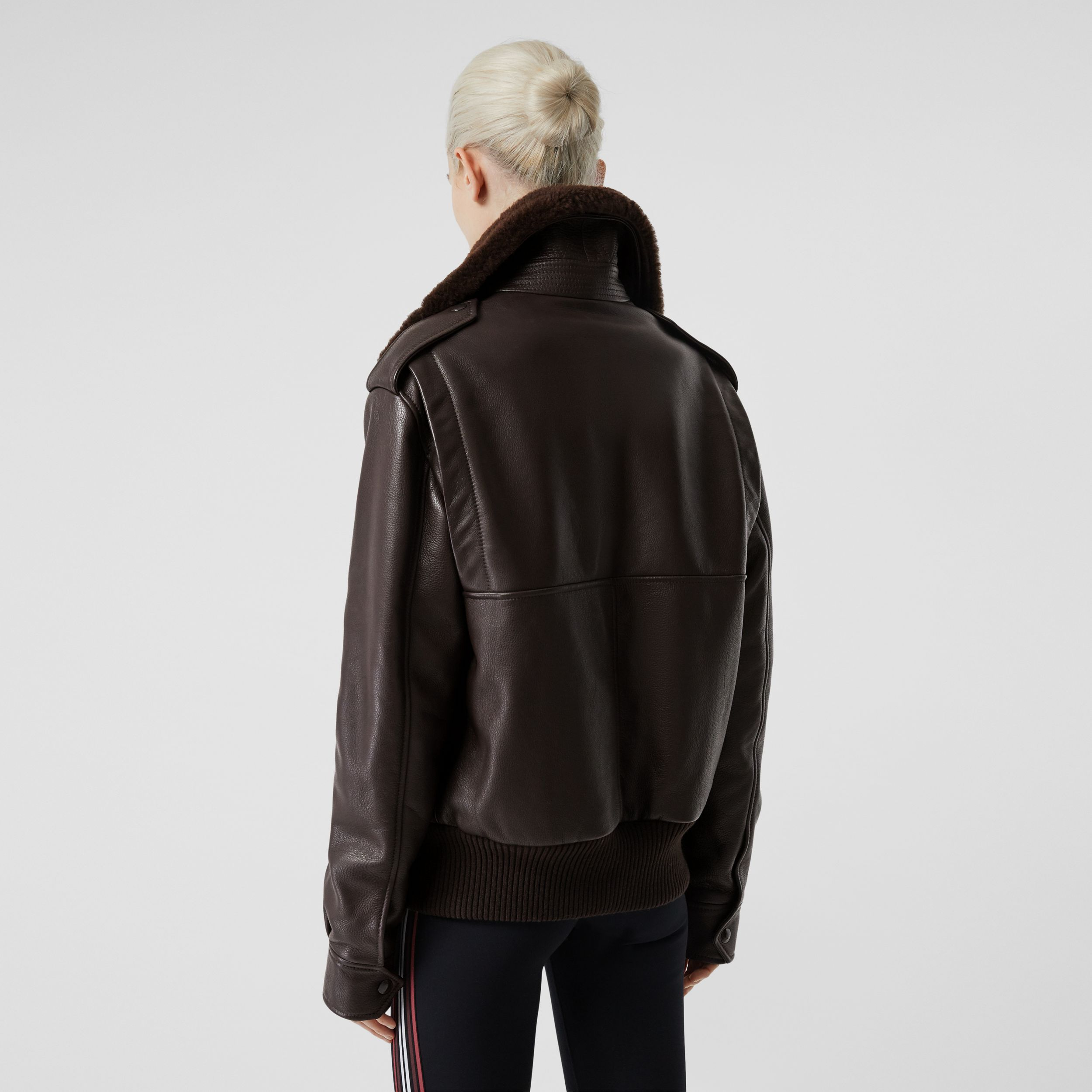 Detachable Shearling Collar Flight Jacket with Warmer in Dark Brown - Women | Burberry - 3