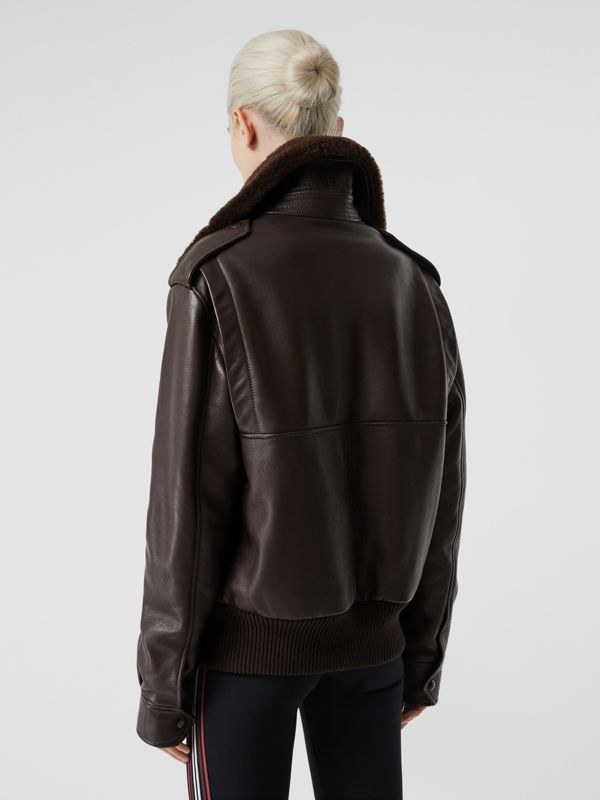 Detachable Shearling Collar Flight Jacket with Warmer in Dark Brown - Women | Burberry Hong Kong S.A.R - cell image 2