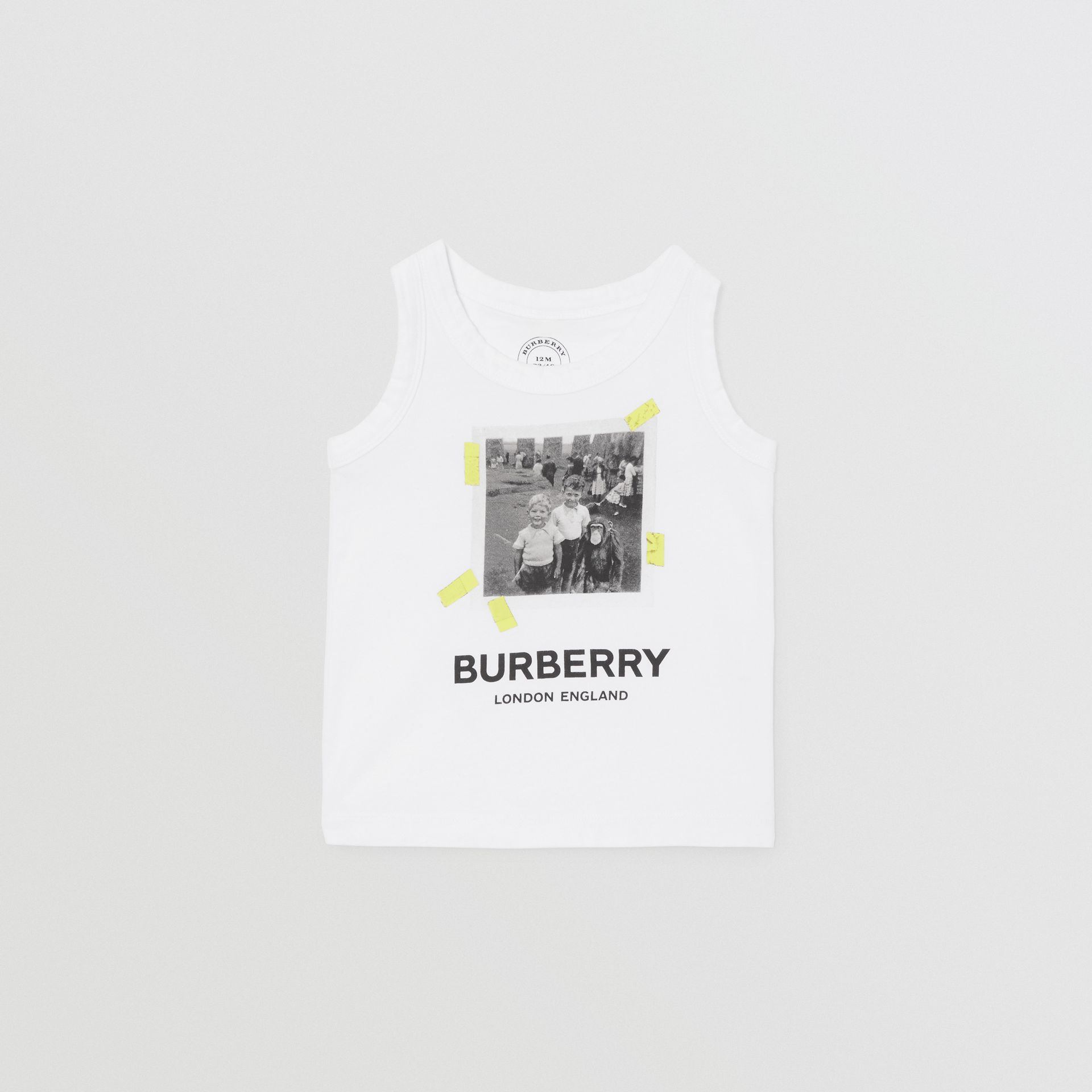 Vintage Photo Print Cotton Vest in White - Children | Burberry - gallery image 0