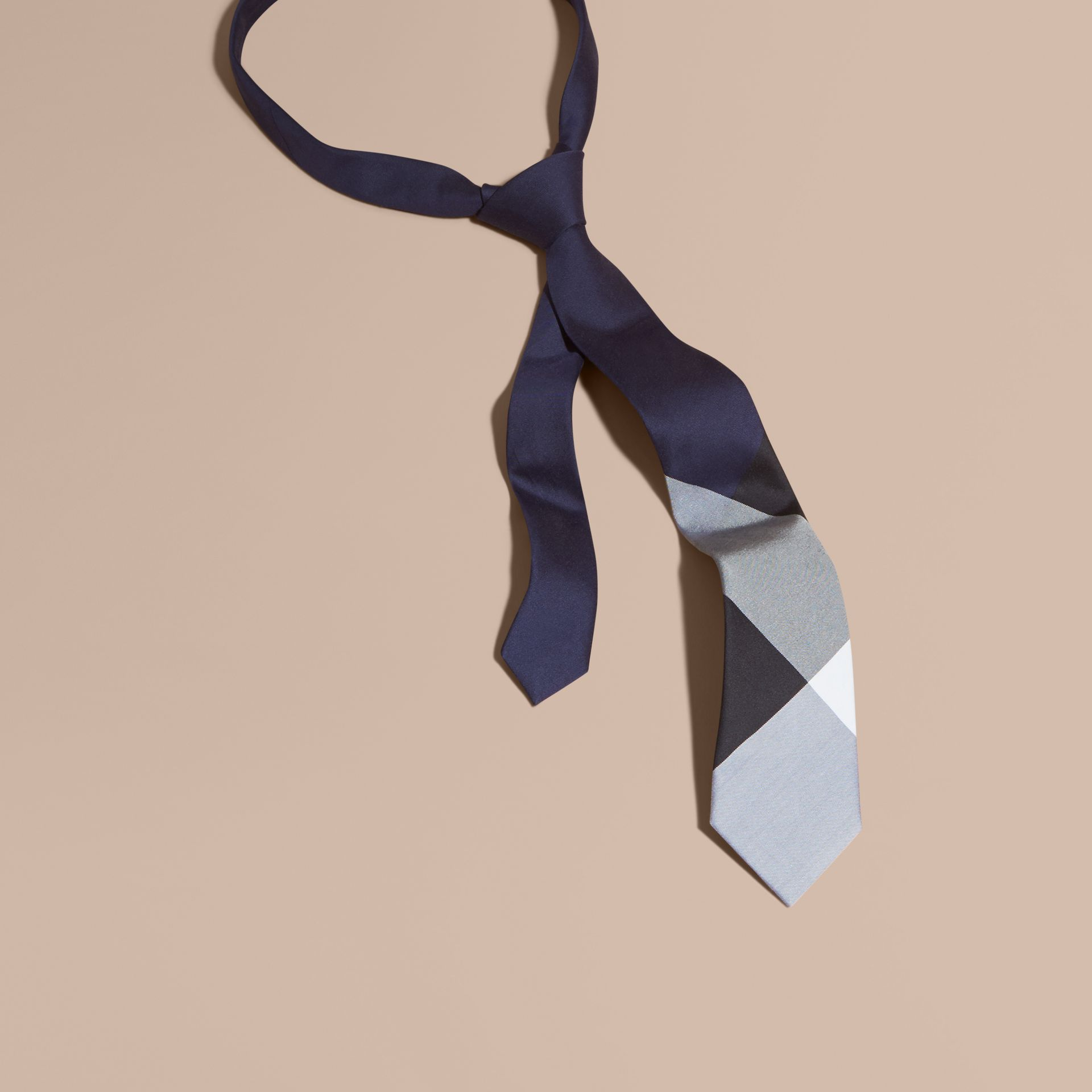 Navy Slim Cut Check Silk Cotton Tie Navy - gallery image 1
