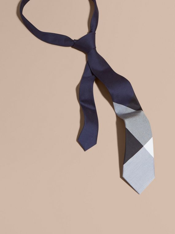 Slim Cut Check Silk Cotton Tie Navy