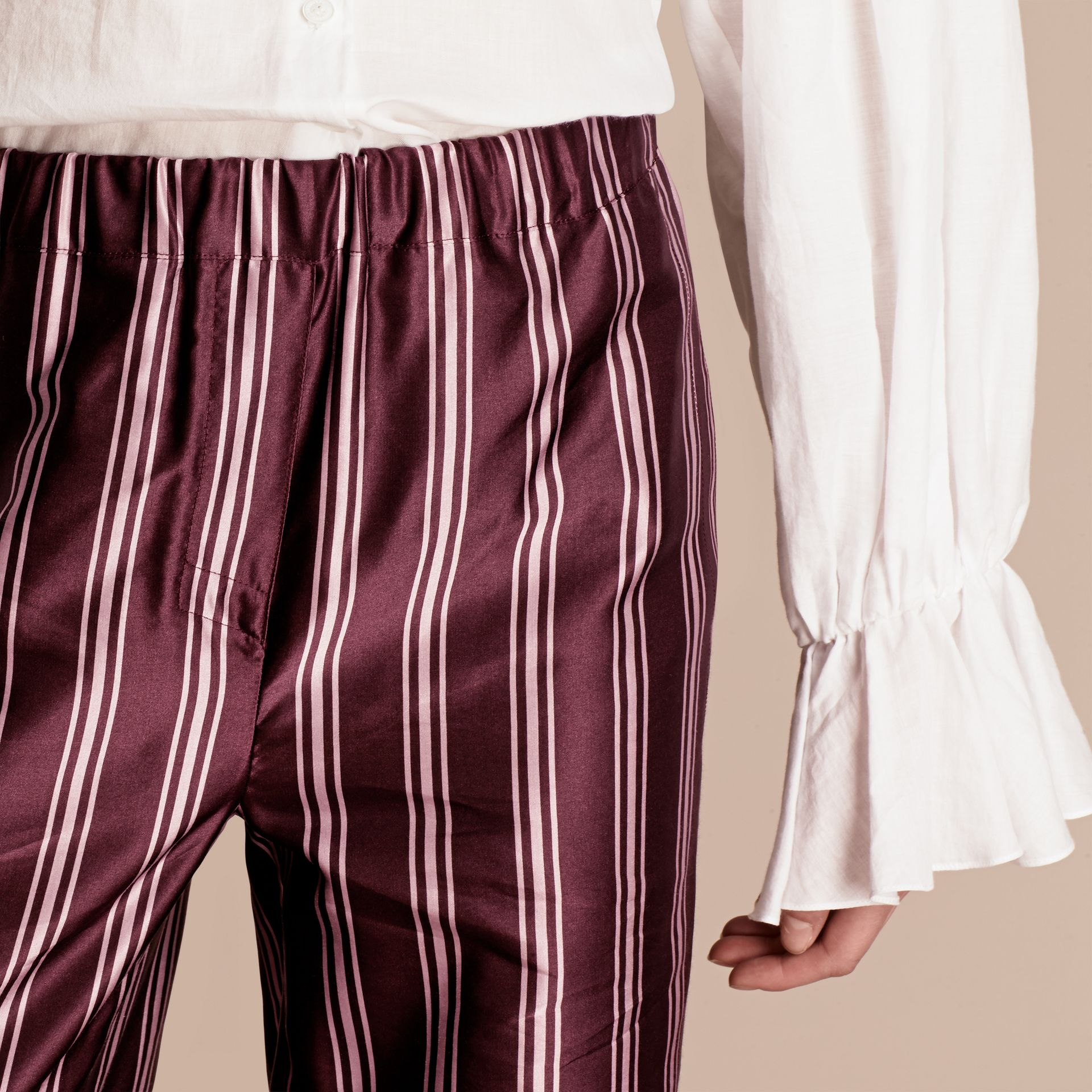 Crimson Panama Stripe Cotton Silk Satin Pyjama-style Trousers - gallery image 5