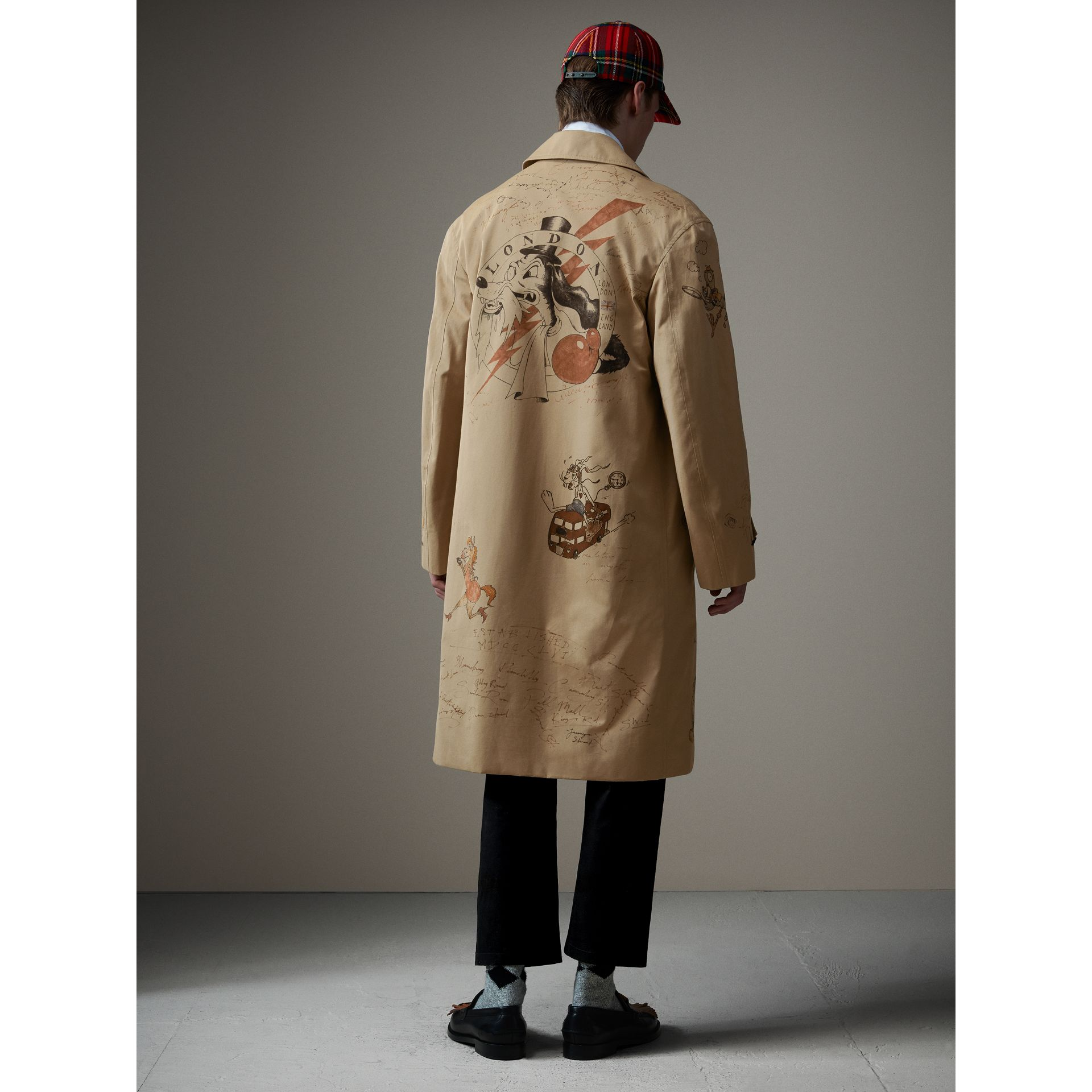 Sketch Print Tropical Gabardine Car Coat in Honey - Men | Burberry - gallery image 3