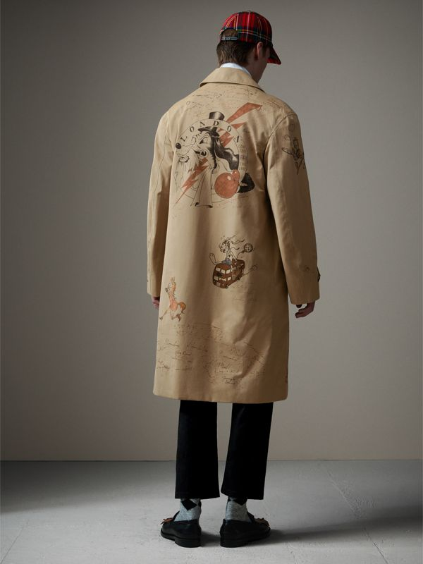 Sketch Print Tropical Gabardine Car Coat in Honey - Men | Burberry - cell image 2