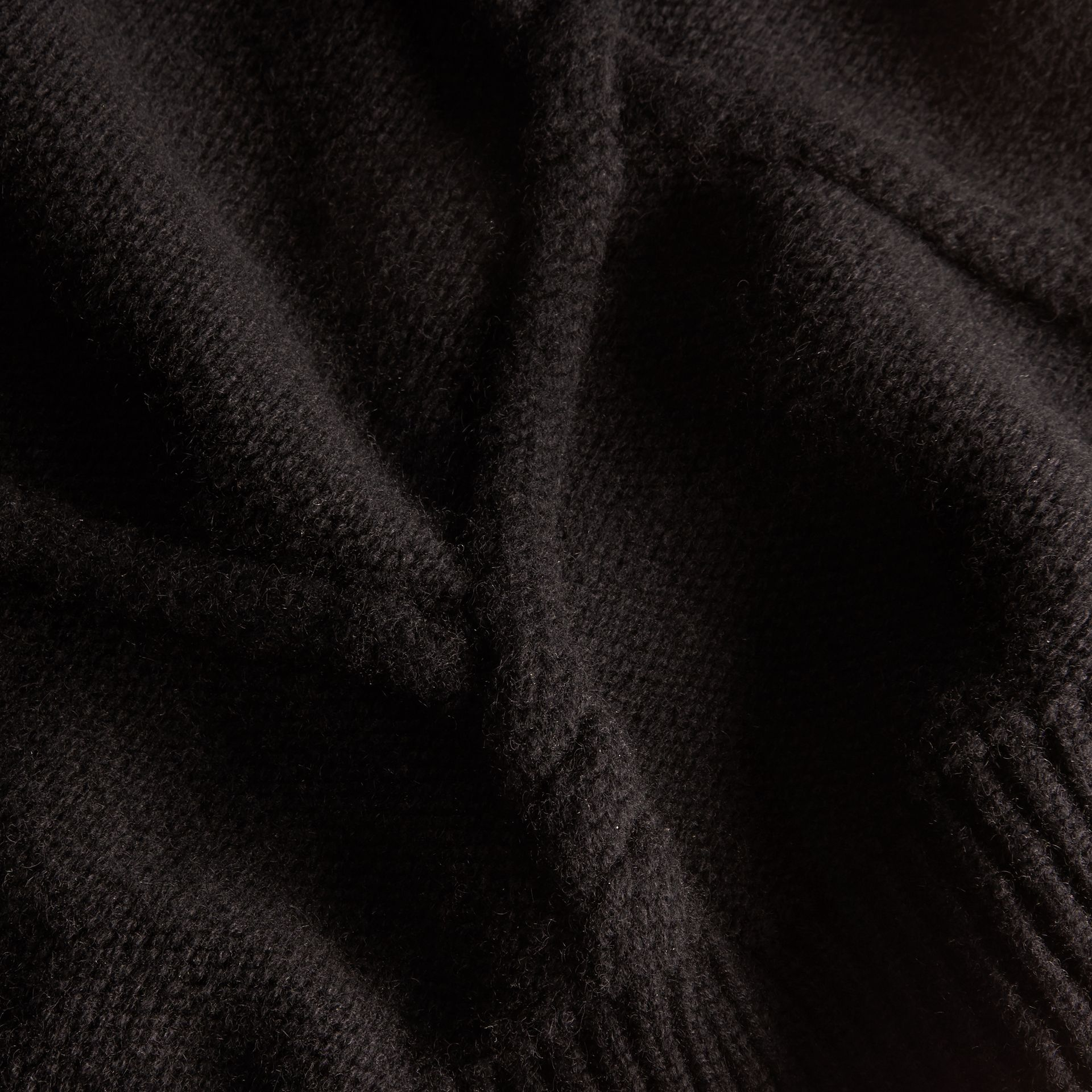 Cable Knit Wool Cashmere Sweater with Ruffle Bell Sleeves in Black - gallery image 2
