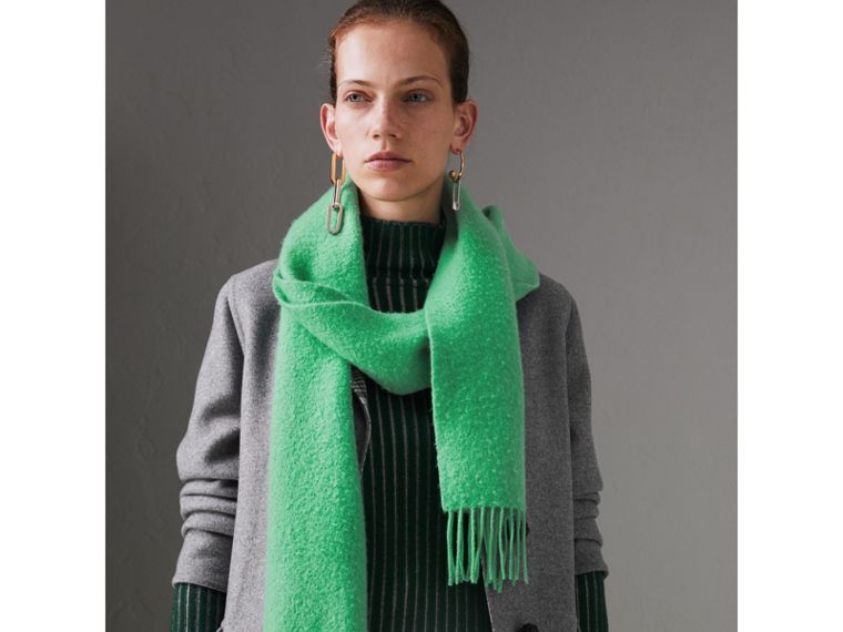 Embroidered Cashmere Fleece Scarf in Tourmaline Green | Burberry - cell image 4