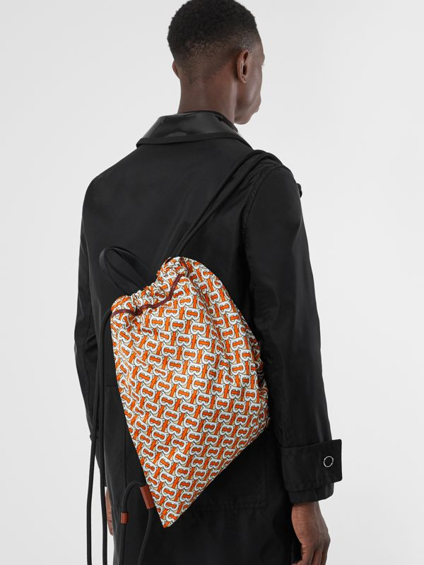 Monogram Print Nylon Drawcord Backpack in Vermilion - Men | Burberry Australia - cell image 2