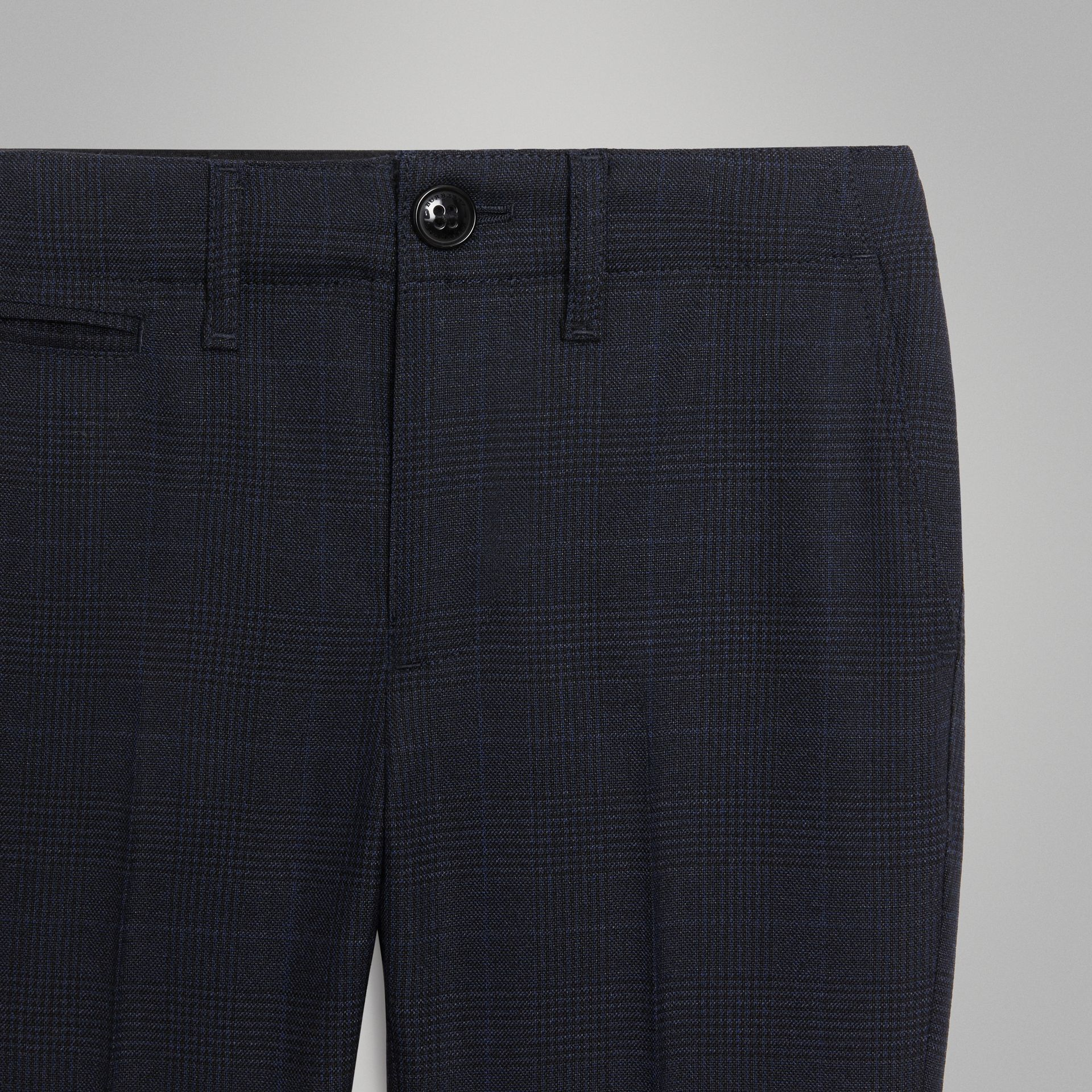 Prince of Wales Check Wool Tailored Trousers in Bright Navy | Burberry - gallery image 4