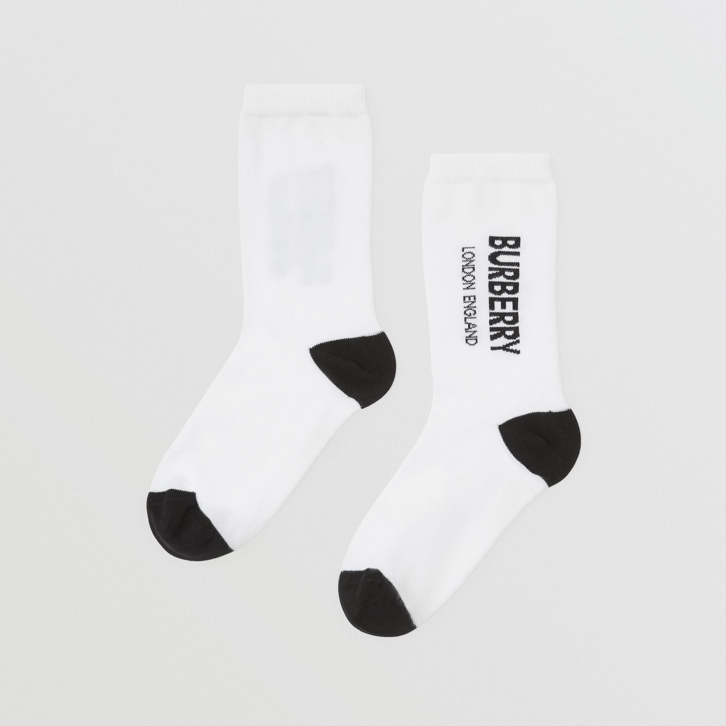 Logo Intarsia Cotton Blend Socks in White/black | Burberry - 3