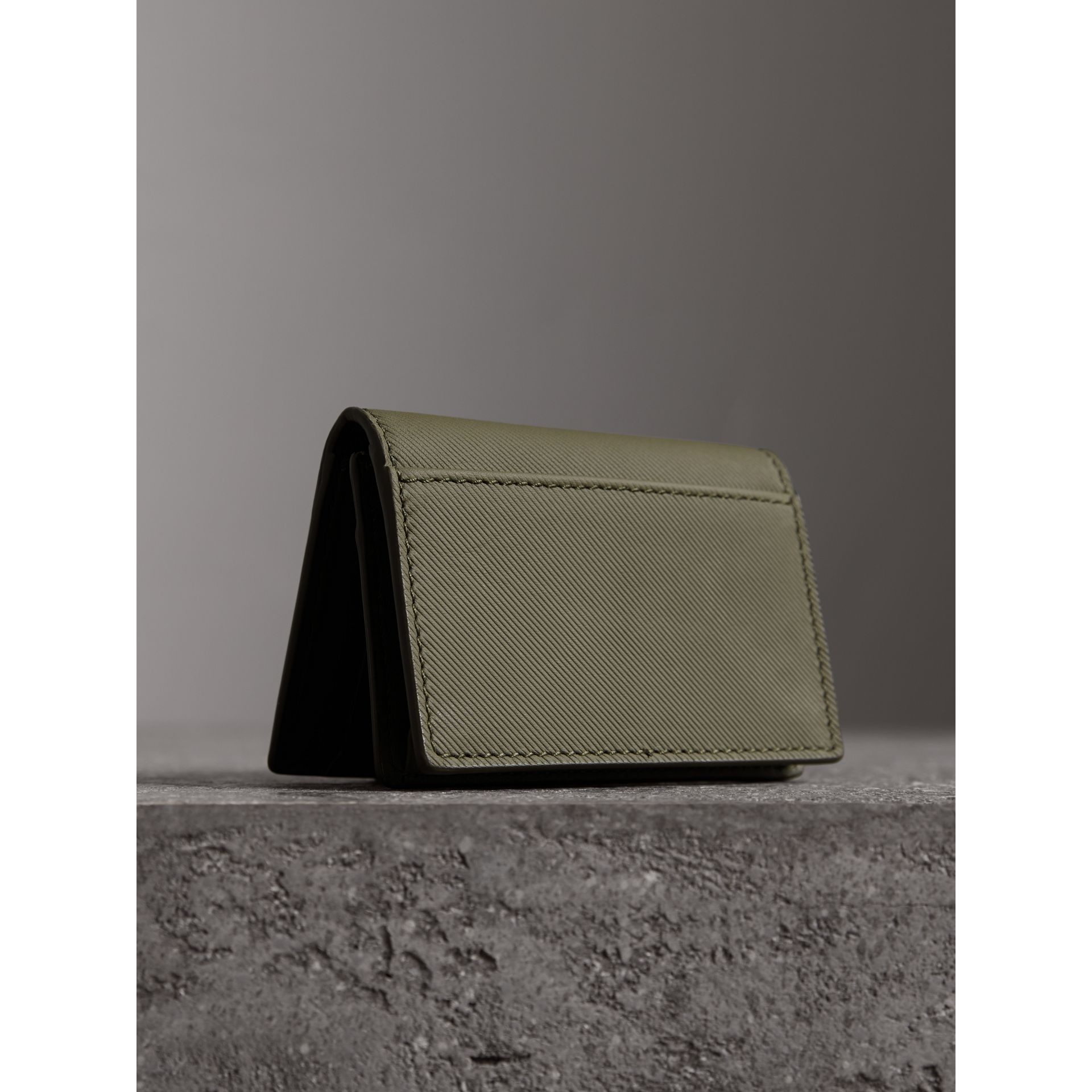 Trench Leather Folding Card Case in Slate Green - Men | Burberry - gallery image 2