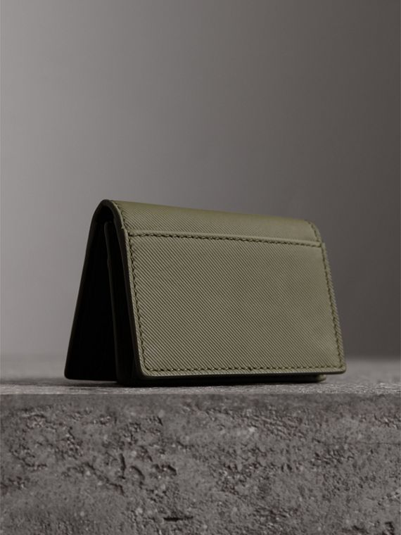 Trench Leather Folding Card Case in Slate Green - Men | Burberry - cell image 2
