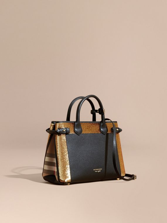 Sac The Banner medium en cuir avec sequins et coton House check - Femme | Burberry