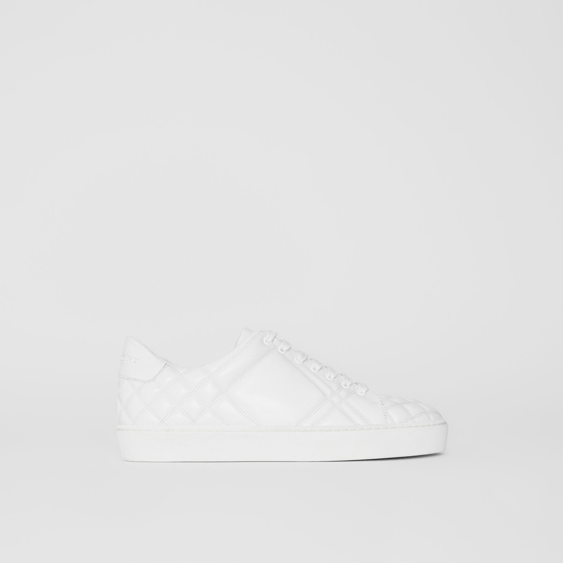 Check-quilted Leather Sneakers in Optic White - Women | Burberry United Kingdom - gallery image 4