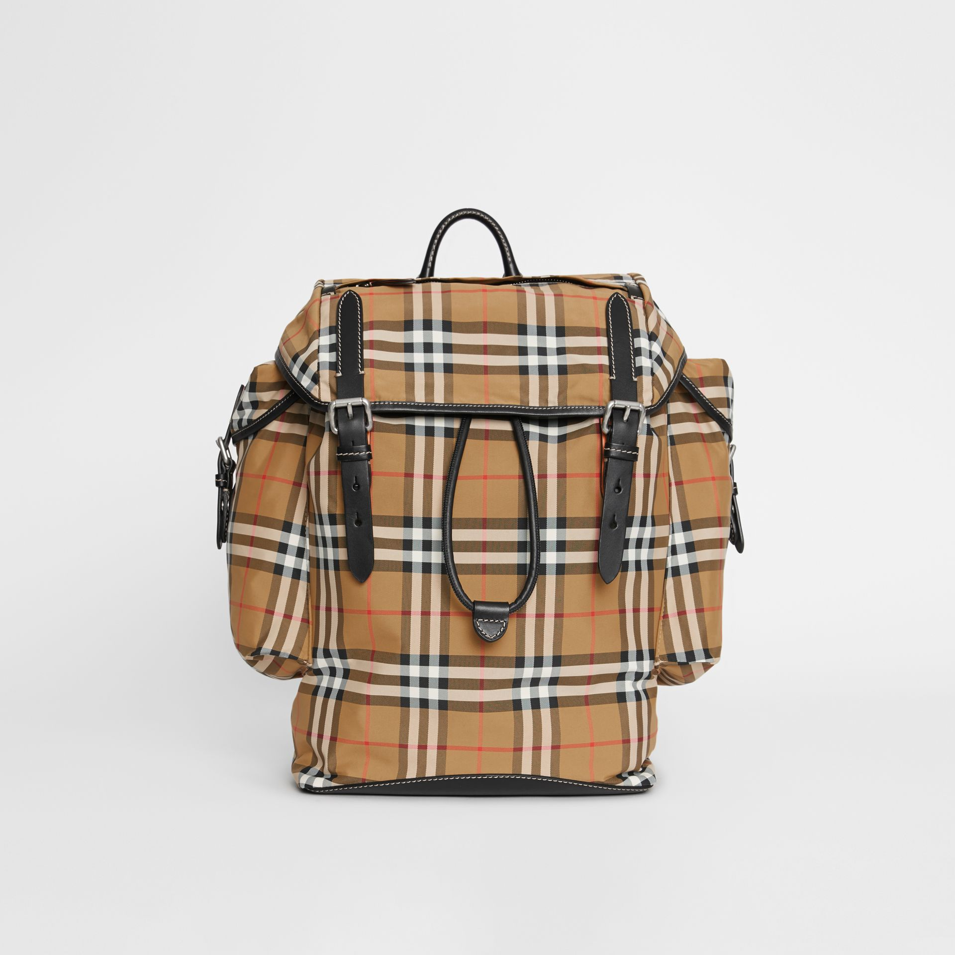 bd272637c4cd5 Vintage Check and Leather Backpack in Antique Yellow - Men ...