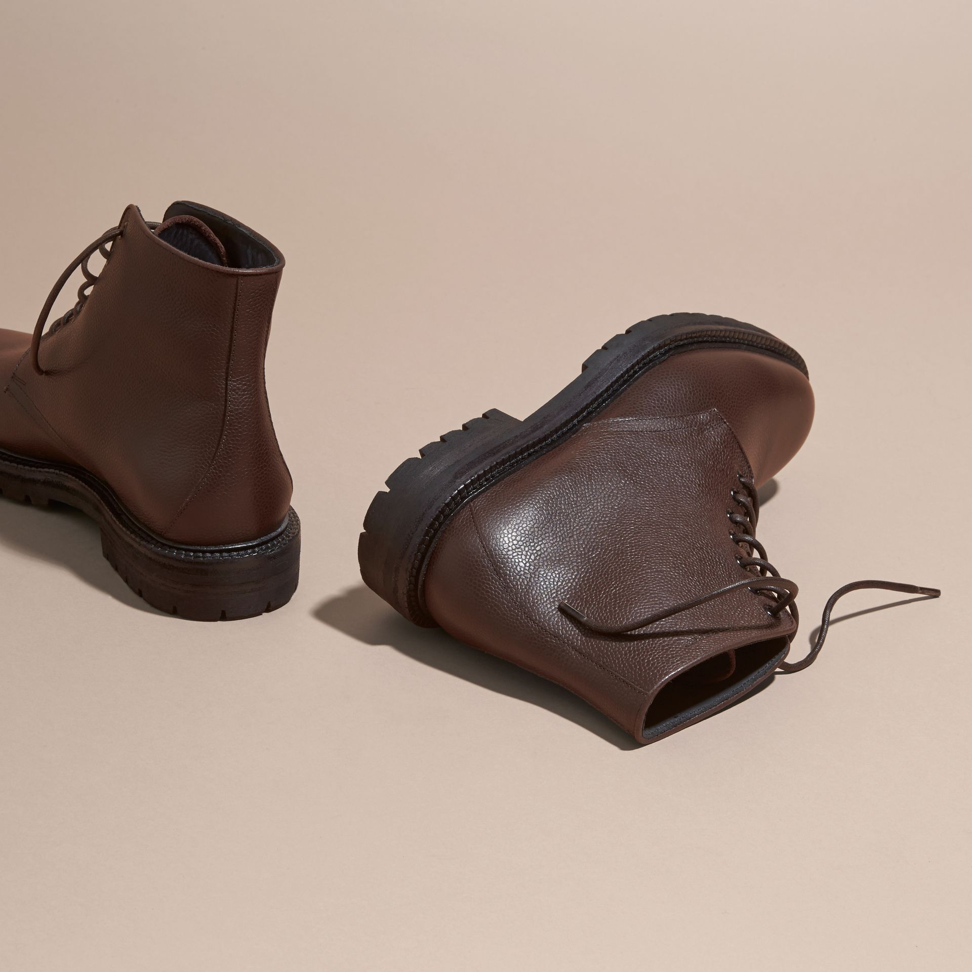 Chestnut Lace-up Grainy Leather Boots Chestnut - gallery image 4