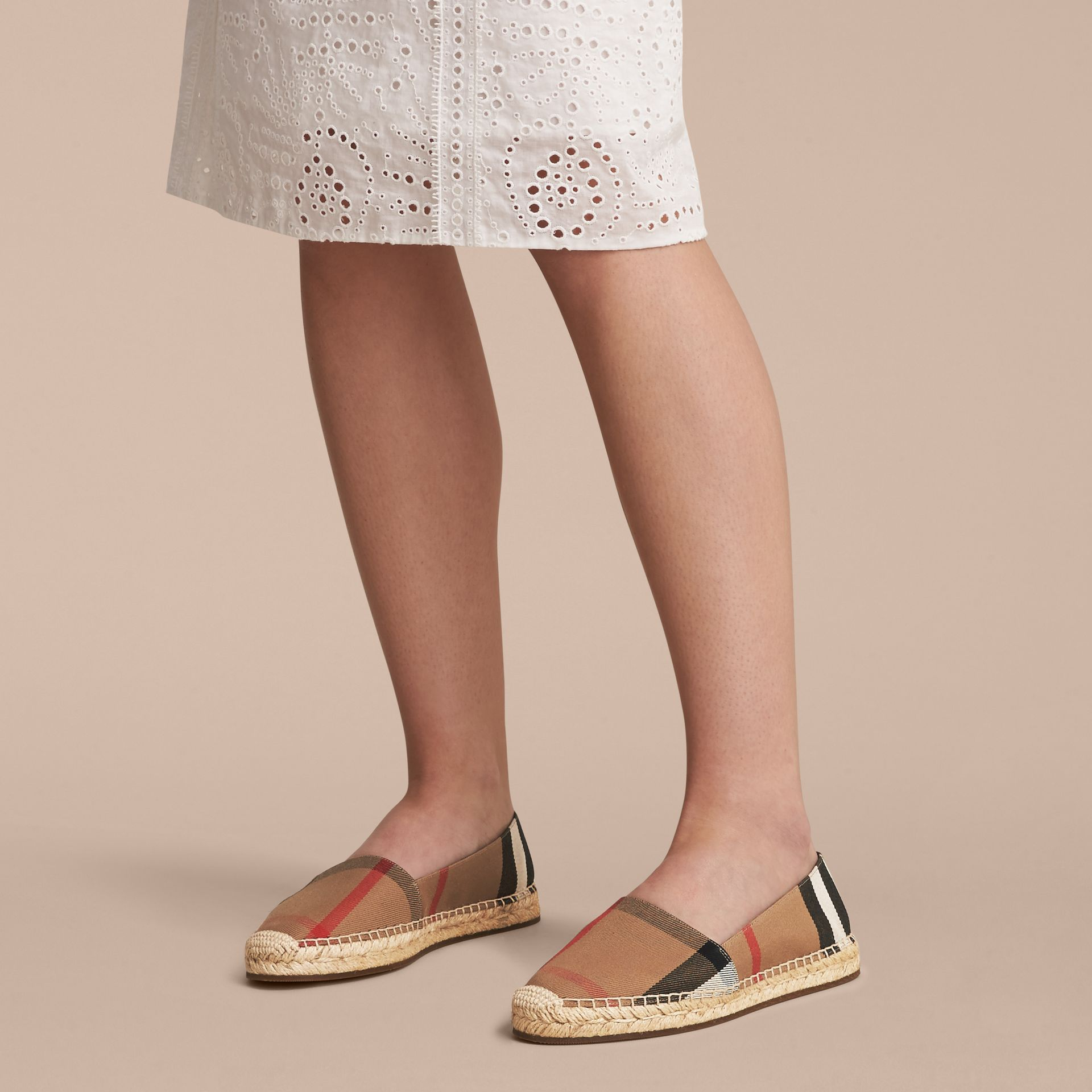 Leather Trim Canvas Check Espadrilles in Classic - Women | Burberry United Kingdom - gallery image 3