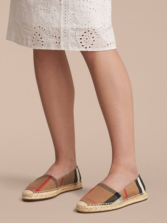 Leather Trim Canvas Check Espadrilles in Classic - Women | Burberry - cell image 2