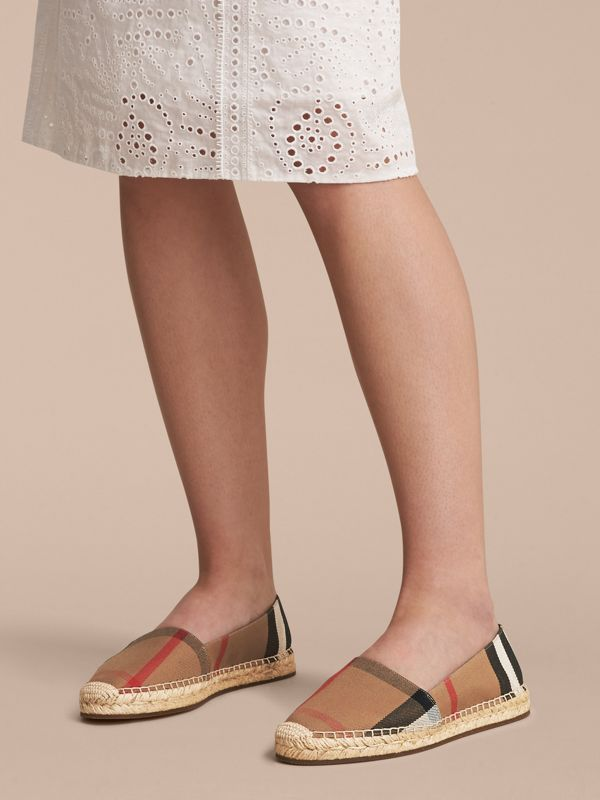 Leather Trim Canvas Check Espadrilles in Classic - Women | Burberry United Kingdom - cell image 2