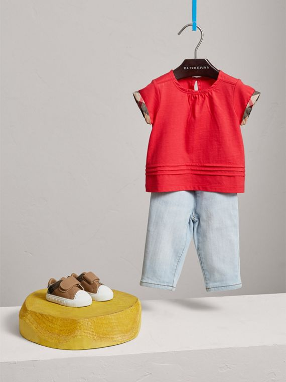 Pleat and Check Detail Cotton T-shirt in Bright Orange Red