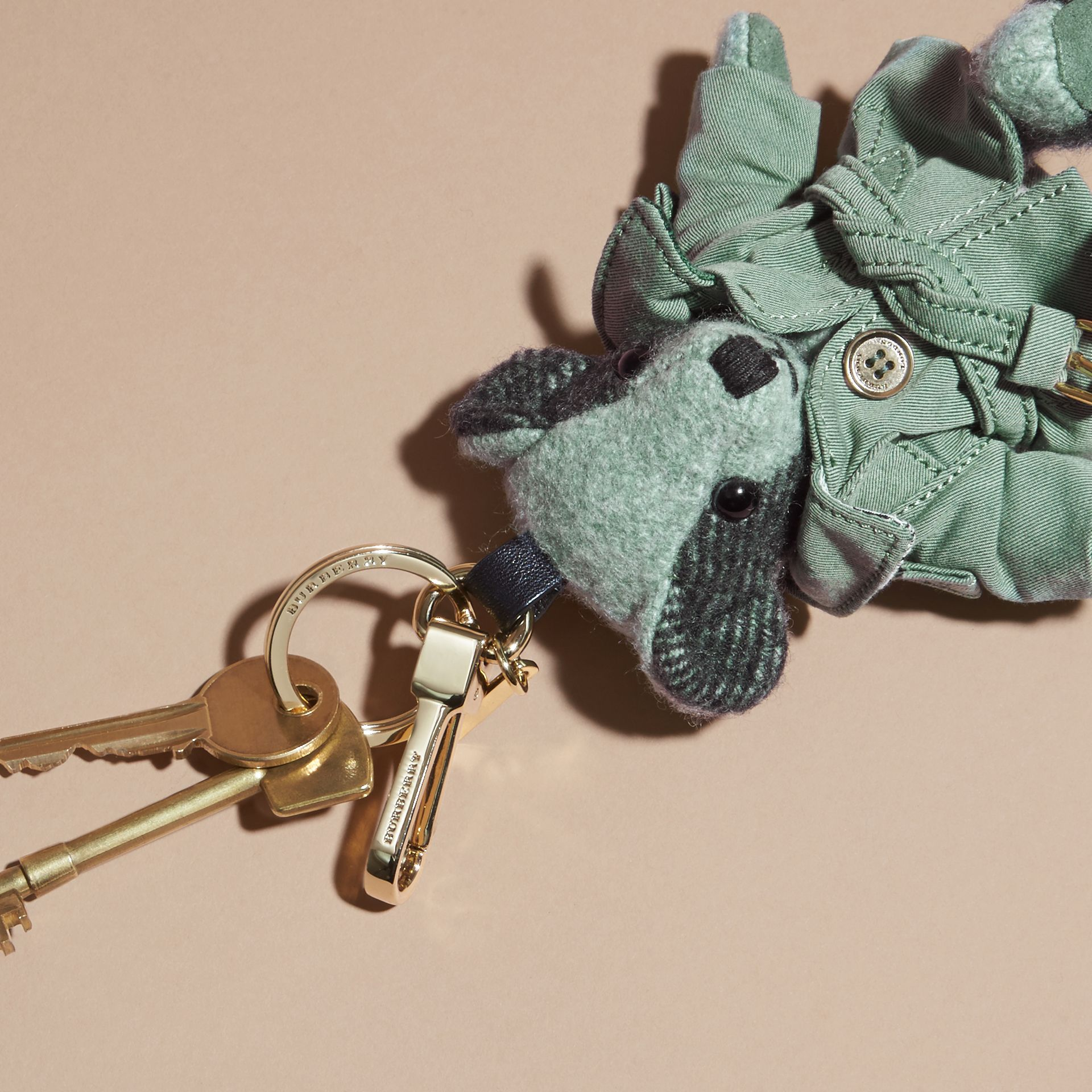 Thomas Bear Charm with Tropical Gabardine Trench Coat in Dusty Mint - Women | Burberry - gallery image 2