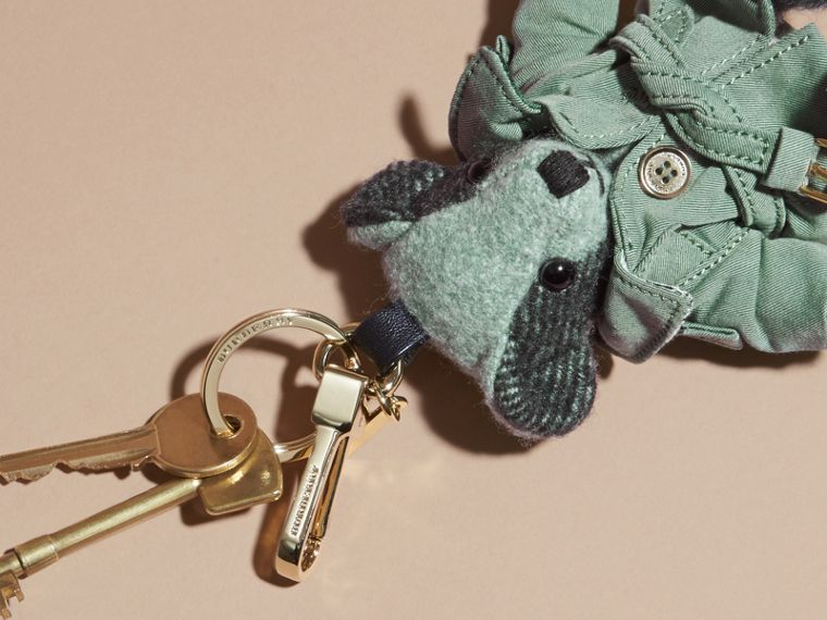 Thomas Bear Charm with Tropical Gabardine Trench Coat in Dusty Mint - Women | Burberry - cell image 1
