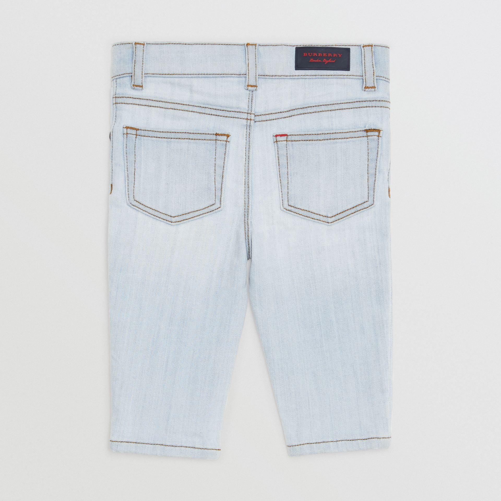 Skinny Fit Stretch Denim Jeans in Light Blue - Children | Burberry United States - gallery image 3