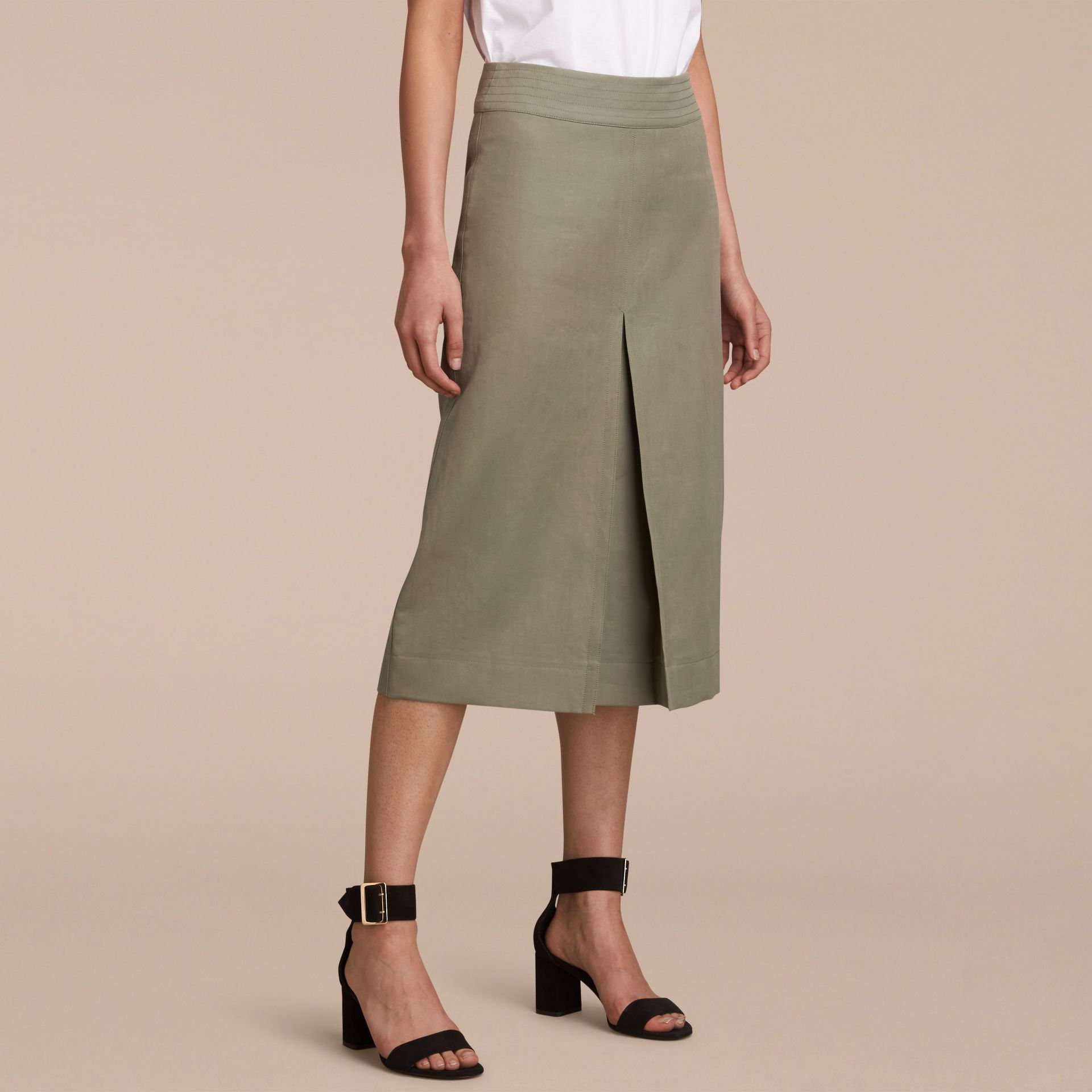 Inverted Pleat Ramie Cotton Skirt - gallery image 6