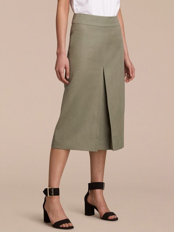 Inverted Pleat Ramie Cotton Skirt